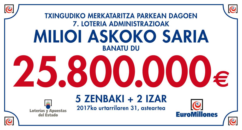 Euromilioiak: Txingudiko Loteria Administrazioan tokatu da sari potoloa