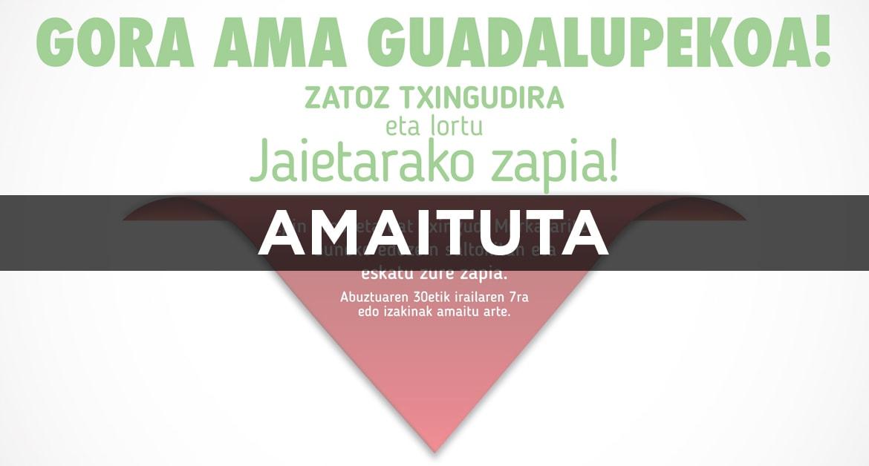 Gora Ama Guadalupekoa! Zatoz Txingudira eta lortu Jaietarako zapia